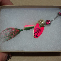 Watermelon Rooster Tail Fishing Lure Navel Belly Button Ring For Fishing Country Girl