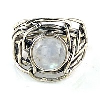 Moonstone Industrial Sterling Silver Ring