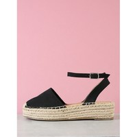Closed Toe Espadrille Platform Wedge Sandal BLACK