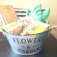 Gardening set - garden bucket, gloves, three vegetable seed kits, garden stationary set. Great For Mothers Day!!!