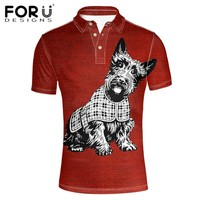 FORUDESIGNS Plus Size XXXL Polos Famous Brand Men's Polo Shirts 3D Puppy Dog Printed Summer Breathable Slim Fit Clothes