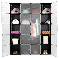 LANGRIA 20-Cube Drawer Unit Storage Organizing Closet DIY Modular Shelving with Translucent Doors and Opaque Curly Patterned Cube Design for Clothes, Shoes, Toys(Black and White)
