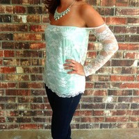 Mint & Lace Off Shoulder Blouse