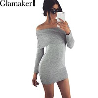 Glamaker 2016 Autumn off shoulder long sleeve bodycon sexy sweater dress Women party white dress vestidos Winter knitted dresses