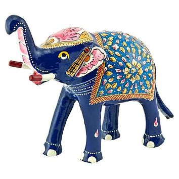 """Elephant Hand Painted Lacquer Statue - 6""""H, 7""""W"""