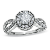 1 CT. T.W. Diamond Framed Ring in 14K White Gold - Save on Select Styles - Zales
