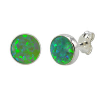 Sterling Silver Green Opal Earring Studs 9mm Round