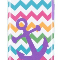 DandyCase 2in1 Hybrid High Impact Hard Nautical Anchor Colorful Chevron Pattern + Purple Silicone Case Cover For Apple iPhone 5C + DandyCase Screen Cleaner