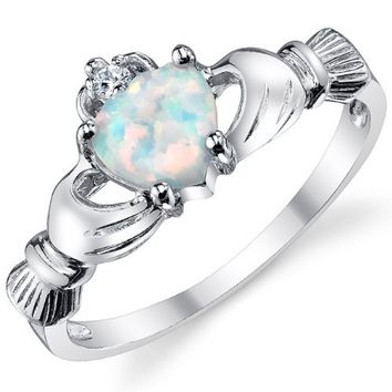 Sterling Silver 925 Irish Claddagh Friendship & Love Ring with Simulated Opal Heart 6