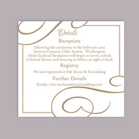 DIY Wedding Details Card Template Editable Text Word File Download Printable Details Card Brown Coffee Details Card Enclosure Cards