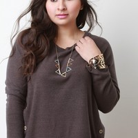 Slanted Buttons Knit Top