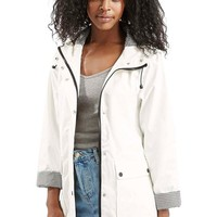 Women's Topshop Gingham Trim Rain Jacket,