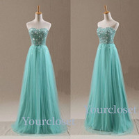 Sweetheart green tulle handmade floor length 2014 prom dress, graduation dress, party dress