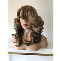 Honey Balayage' Silky Swiss Human Hair Blend Multi Parting Lace Front Wig - 41723