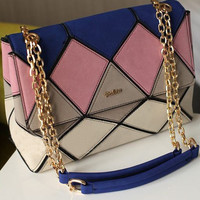 Suede Leather Colorblocked Satchel