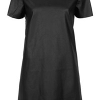 Leather-look T-shirt Dress - Dresses  - Clothing