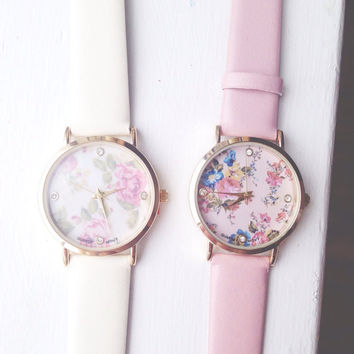 Floral Print Pastel Watches, Pink Watch, Ivory Watch, Pastel, Womens Accessories, Womens Jewelry