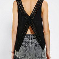 Pins And Needles Lace Split-Back Tank Top