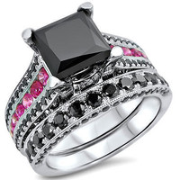 AMAZING 7.56CT BLACK PRINCES CUT 925 STERLING SILVER ENGAGEMENT AND WEDDING RING