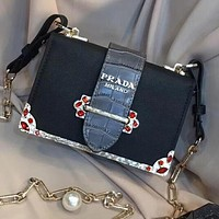 ''Prada'' Trending Women Stylish Leather Red Crystal Shoulder Bag Crossbody Satchel Black/Dark Grey I-WXZ2H