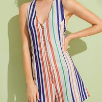 Button Front Striped Halter Playsuit