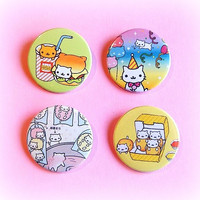 Nyan Nyanko cat button badge or magnet 1.5 Inch by PKPaperKitty