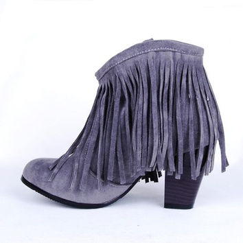 Fashion tassel solid color high-heeled boots