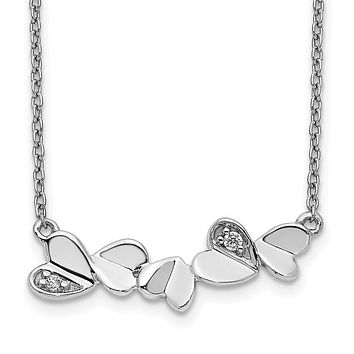 14k White Gold Real Diamond Hearts Bar Necklace