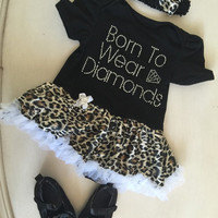 Baby romper Black and leoapard  tutu, baby girl  tutu skirt romper ,  shoes and headband