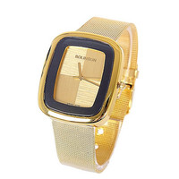 Unisex Casual Fashion Gold Tone Face Wrist Quartz Mesh Watch