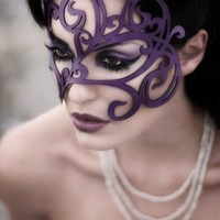 Swirly leather mask in violet by TomBanwell on Etsy