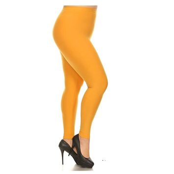 No Peek-a-Boo See Through PLUS Size Mustard Leggings