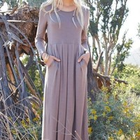 Ella Long Sleeve Maternity Maxi Dress - Mocha
