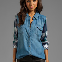 Rails Jackson Tencel Button Down in Light Blue/Green White Plaid from REVOLVEclothing.com