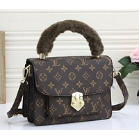 LV retro print fashion ladies plush handbag