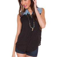 Miranda Button Up Top - Black
