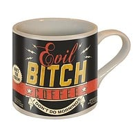 Evil Bitch Coffee - I Don't Do Mornings Mug | Vintage Style | Design on Both Sides | In a Gift Box