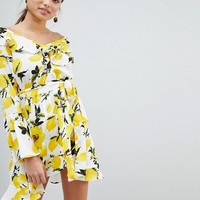 Boohoo Off Shoulder Lemon Print Dress at asos.com