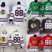 Youth Chicago Blackhawks Hockey Jerseys #88 Patrick Kane Jersey Kids Home Red Road White Alternate Black Green Jerseys C Patch