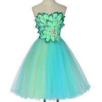 Green Cocktail Dresses Tulle Dress Knee Length Homecoming Party Gowns Flower Appliques Short Coctail Dress Robe de Cocktail 7579