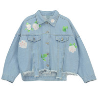 Light Blue Floral Print Denim Jacket