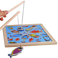 Kids Fishing Board Game Toy Wooden Puzzle Magnetic Fishing Toy 11pcs Cartoon Pattern Fish Model Educational Toy for Children