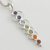 Chakra Blanced Line Sterling Silver Pendant