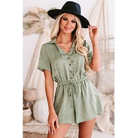 Tanya Short Sleeve Button-Down Satin Romper (Olive)
