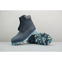 Timberland Leather Lace-Up Boot High Navy Camo Sole