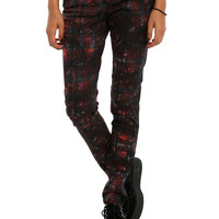 Royal Bones By Tripp Red Tartan Skinny Jeans