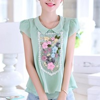 Exquisite Embroidered Floral Blouse - OASAP.com