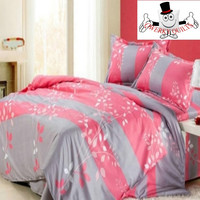 Pink Grey Striped Bedding Set and Quilt Cover