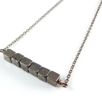 Pyrite Necklace, Pyrite Cube Beads, Geometric Gemstone Bar Necklace, Semi Precious Metallic Cubes