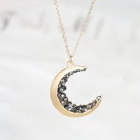 Gold Crescent Moon Encrusted With Black Diamond Crystals Jewels Long Necklace